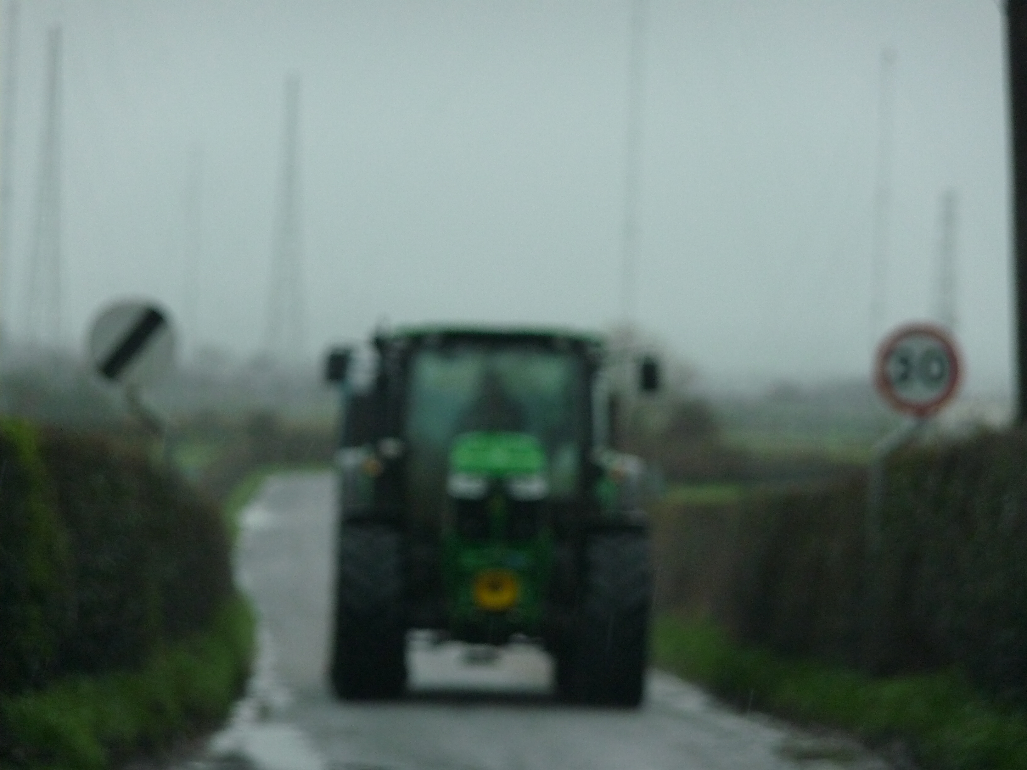 Tractor blocking road