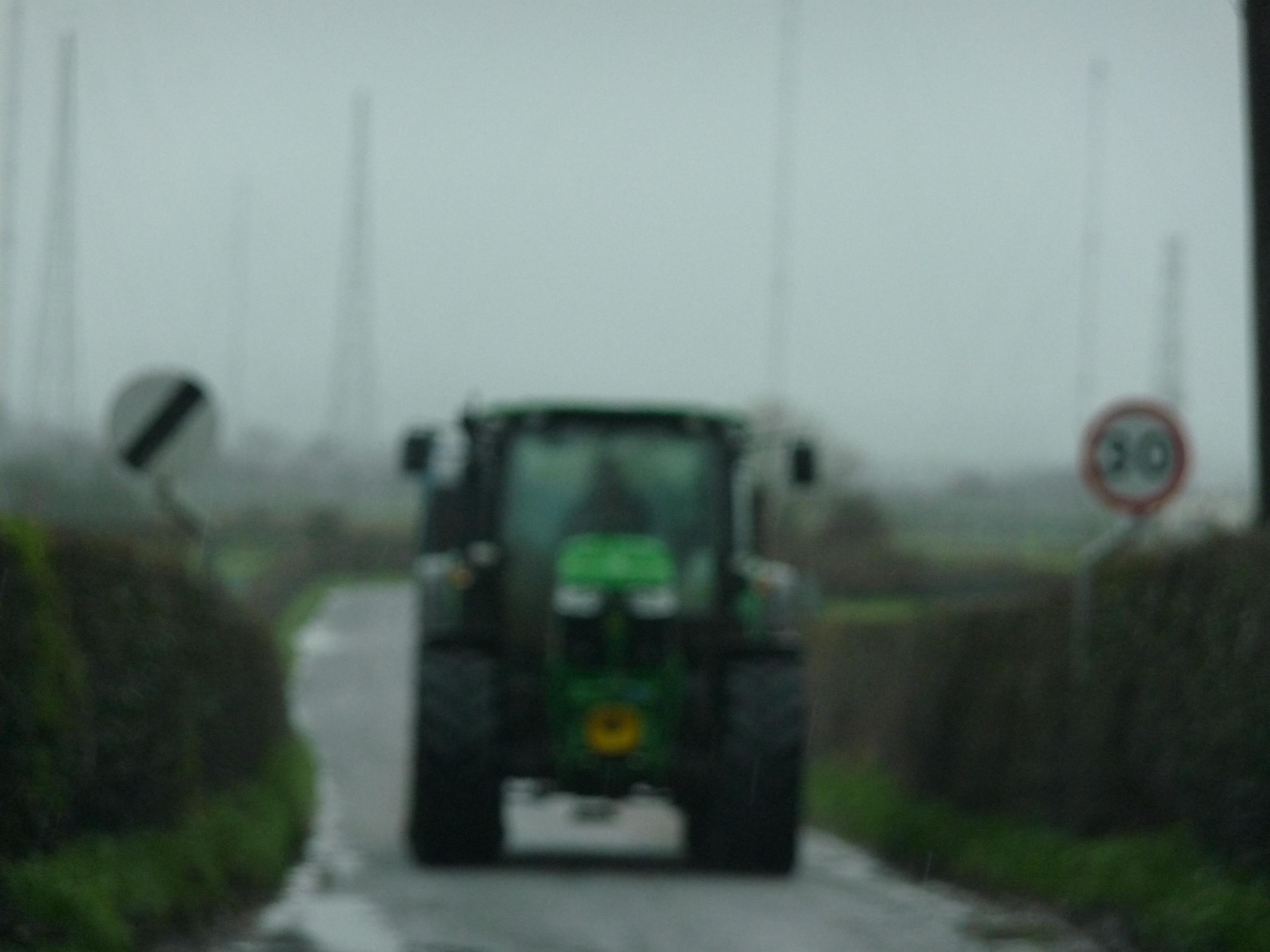 Tractor blocking road