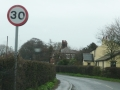 Bend at Roseacre Road with 30 sign