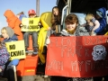 Residents and neighbours of Roseacre village gather to protest against fracking in the area