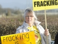 Residents and neighbours of Roseacre village gather to protest against fracking in the area.  Carole Worthington.