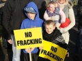 Residents and neighbours of Roseacre village gather to protest against fracking in the area.  Pictured are James Jacob, Vicky Jacob with Harper Jacob, Taylor Harper and Felix Harper.